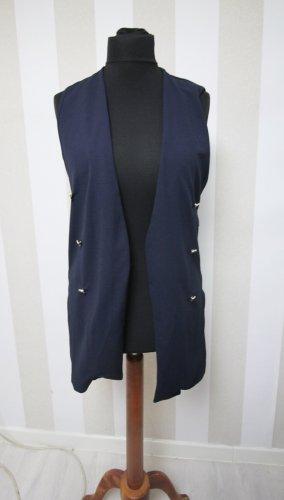 Boohoo Long Knitted Vest dark blue
