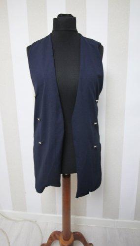 Gilet long tricoté bleu foncé