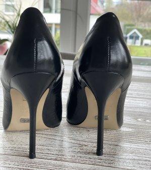 NEU Buffalo London High Heels 10cm Leder Schwarz Stiletto 38
