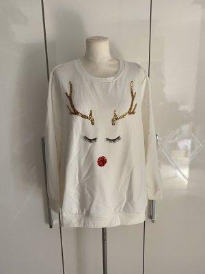 NEU C&A Plus Size Weihnachts-Pullover Gr.48 Gr.XL weiß Pulli