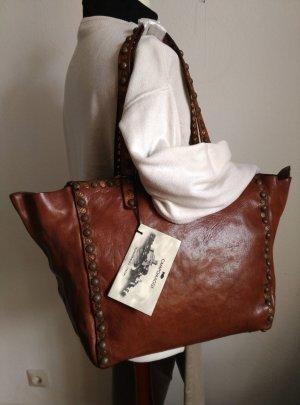 neu Campomaggi Leder Tasche Shopper Tote Bag Nieten Braun Cognac Gold