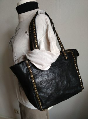 neu Campomaggi Leder Tasche Shopper Tote Bag Nieten Schwarz