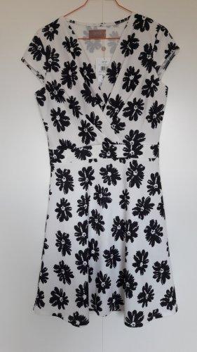 NEU Cartoon Kleid weiß schwarz Blümchenmuster tailliert Gr. 36