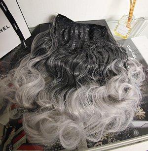 NEU Clip In Extensions Tresse grau ombre gelockt wig haare halloween