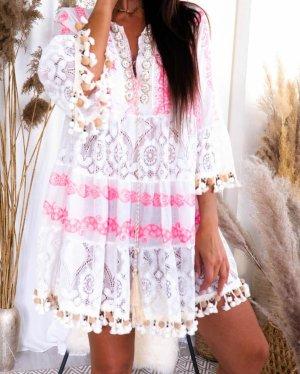 stylelistic Bluzka oversize biały-różowy