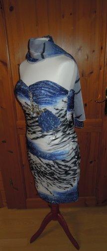 NEU  Cocktailkleid Abendkleid Chiffon Farbmix mit Stola Korsagenkleid Corsagenkleid trägerlos oder mit Trägern tragbar Größe 38 Größe T4 Herzausschnitt