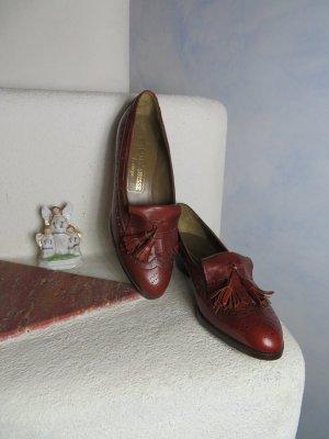 NEU! Cognac Braun BALLY Leder Trotteur Gr. 37 - 100% Leder Schuhe - College Stil