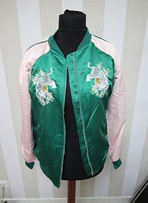 Chaqueta estilo universitario verde-rosa