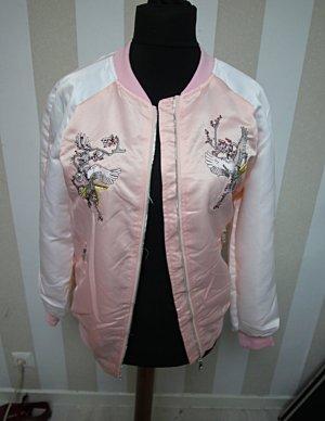 Chaqueta estilo universitario blanco-rosa