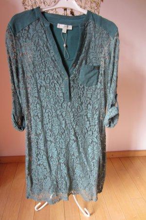 NEU: COMMA - hell-petrol-grünes Spitzen-Vintage-Kleid mit Unterkleidshirt S/M