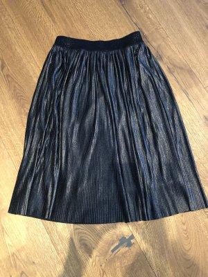 Comma Geplooide rok zwart-zilver