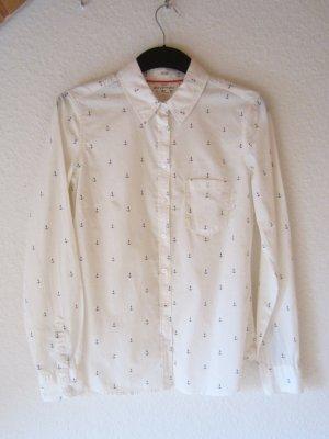 NEU: Cremeweiße Hemdbluse mit hübschem Anker-Muster