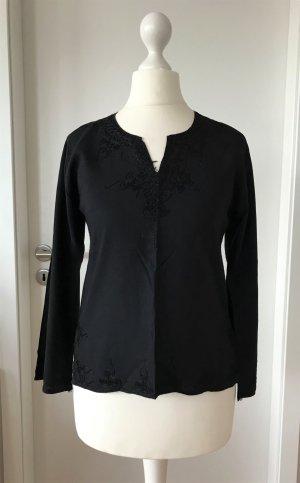 NEU Damen Bluse Tunika XS 34 Schwarz Top Oberteil Baumwolle Shirt Hemd Stickerei
