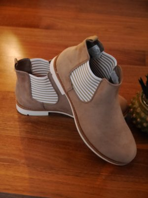 NEU ♥ Damen Chelsea Boots ♥ Gr. 38 ♥ gestreifte Stretcheinsätze ♥ beige ♥