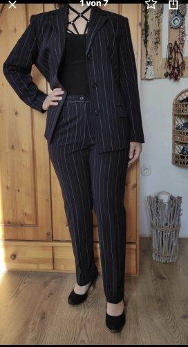 Neu! Damen Eleganter Anzug Schwarz Dunkelblau Gestreift Gr.38/40/20