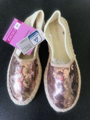 Neu! Damen Espadrille roségold beige Pailetten bestrickt Glitzer 37 Leinen Schuhe flach Ballerina