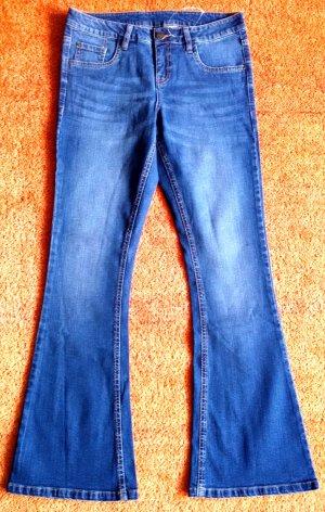 NEU Damen Hose Stretch Jeans Gr.38 in Blau Verwaschener Optik