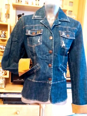 Lisa Campione Denim Jacket steel blue-orange cotton