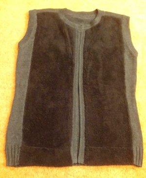 Futrzana kamizelka czarny-ciemnoszary