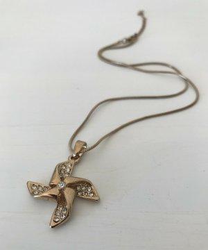 NEU Damen Kette 18K vergoldet Windrad Kristallen Anhänger Charm Halskette Boho