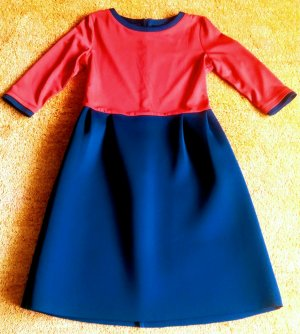 Bonsui Midi-jurk donkerblauw-rood Polyester