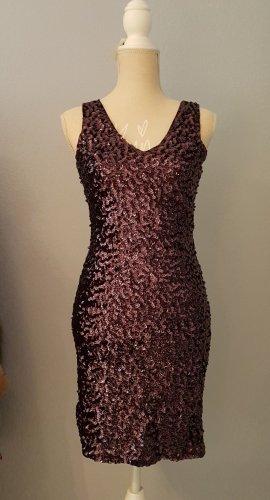 NEU Damen Kleid Pailletten Abendkleid Partykleid glitzer Braun Party Cocktail