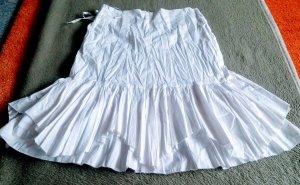 Lisa Campione Jupe en tissu crash blanc coton