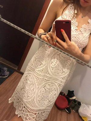 Neu Damen Sexy Lace Weißes Kleid Gr. S