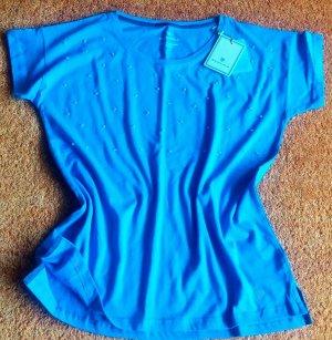 Basefield Koszulka z dekoltem w łódkę niebieski neonowy-baby blue Bawełna
