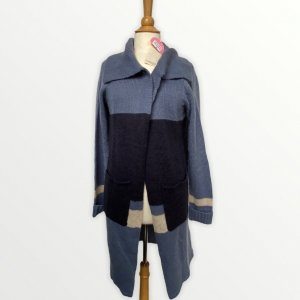 nuanique Knitted Coat steel blue