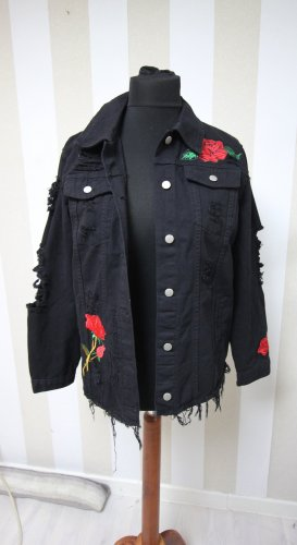 NEU DENIM JEANS JACKE MIT ROSEN & TIGER CUT OUTS RIPPED DESTROYED