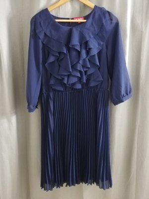 NEU!!! DERHY Kleid 36 plissee chiffonkleid 3/4-ärmel blau gr. S