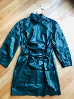 Zara Skórzana sukienka ciemnozielony-leśna zieleń