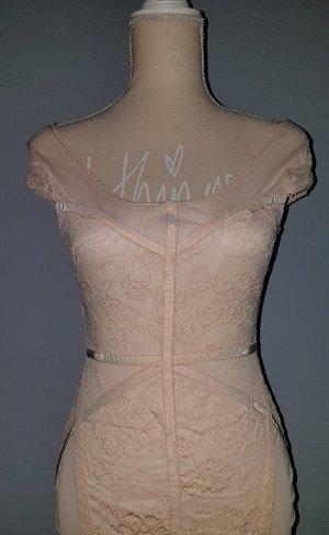 NEU DIVIDED SPITZENKLEID KLEID Lace Puder Rose Rosa Beige Kappärmel sehr feminine..