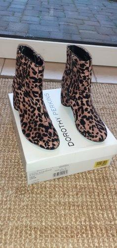 NEU Dorothy Perkins Stiefelette Ankle Boot Blockabsatz pink schwarz Leo-Muster Animal Print 37