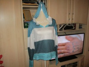 Hooded Sweater silver-colored-turquoise cotton