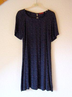 NEU: Dunkelblaues Pünktchen-Kleid aus Strukturstoff