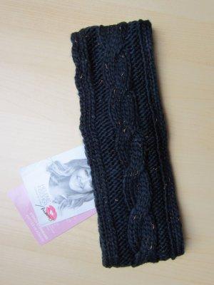 NEU: Dunkelblaues Strickstirnband mit kupferfarbenem Garn