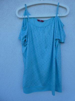 NEU - edc by Esprit – Damen T-Shirt, hellblau/türkis mit Sternen
