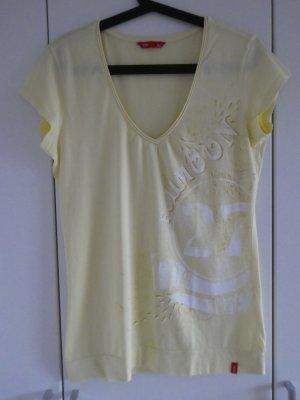NEU – edc by Esprit – T-Shirt, hellgelb mit weißem Aufdruck