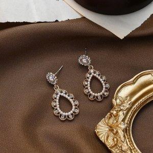 Neu elegante rococo Stil Ohrringe mit glänzendem zirkonia  Stecker aus 925 Silber