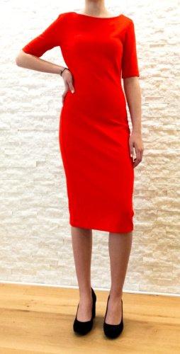 Zara Woman Vestido de tubo rojo tejido mezclado