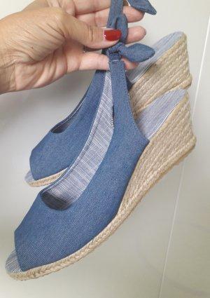 Espadrille sandalen beige-blauw Denim