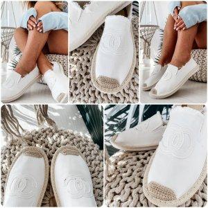 Espadrille sandalen wit-lichtbruin