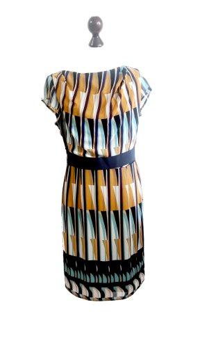 NEU Esprit Collection All Over Print Chiffon Kleid senfgelb türkis
