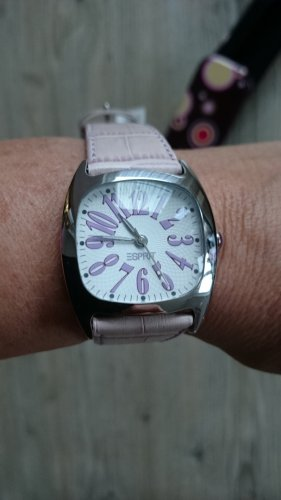 Esprit Montre avec bracelet en cuir blanc-rosé cuir