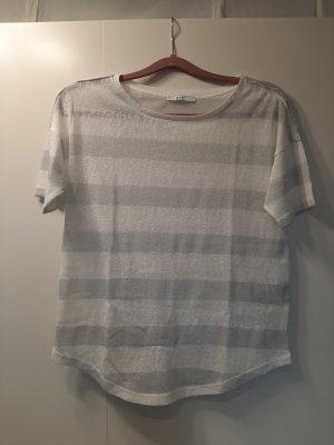 NEU Esprit edc tolles Sommershirt gestreift weiß silber grau semitransparent Gr. S