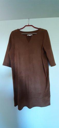 NEU Esprit Kleid in Velourleder-Optik gerader Schnitt braun cognac 3/4-Ärmel Gr. S