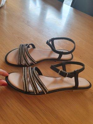 Neu Esprit Leder Sandale in schwarz Gr 38