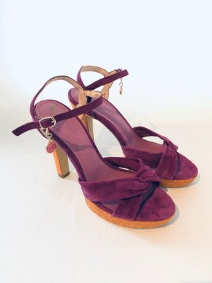 Görtz 17 Platform High-Heeled Sandal dark violet-light orange leather